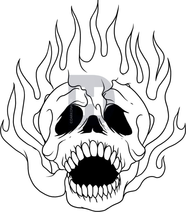 632x720 How To Draw A Skull On Fire, Step