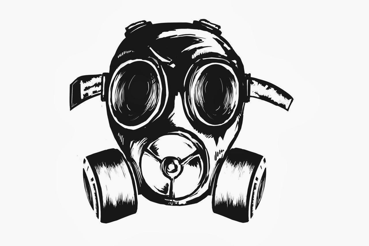 Skull Gas Mask Drawing