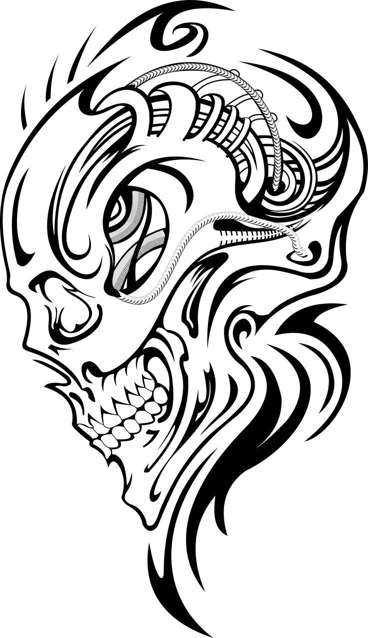 736x1275 Silhouette Skull Outline