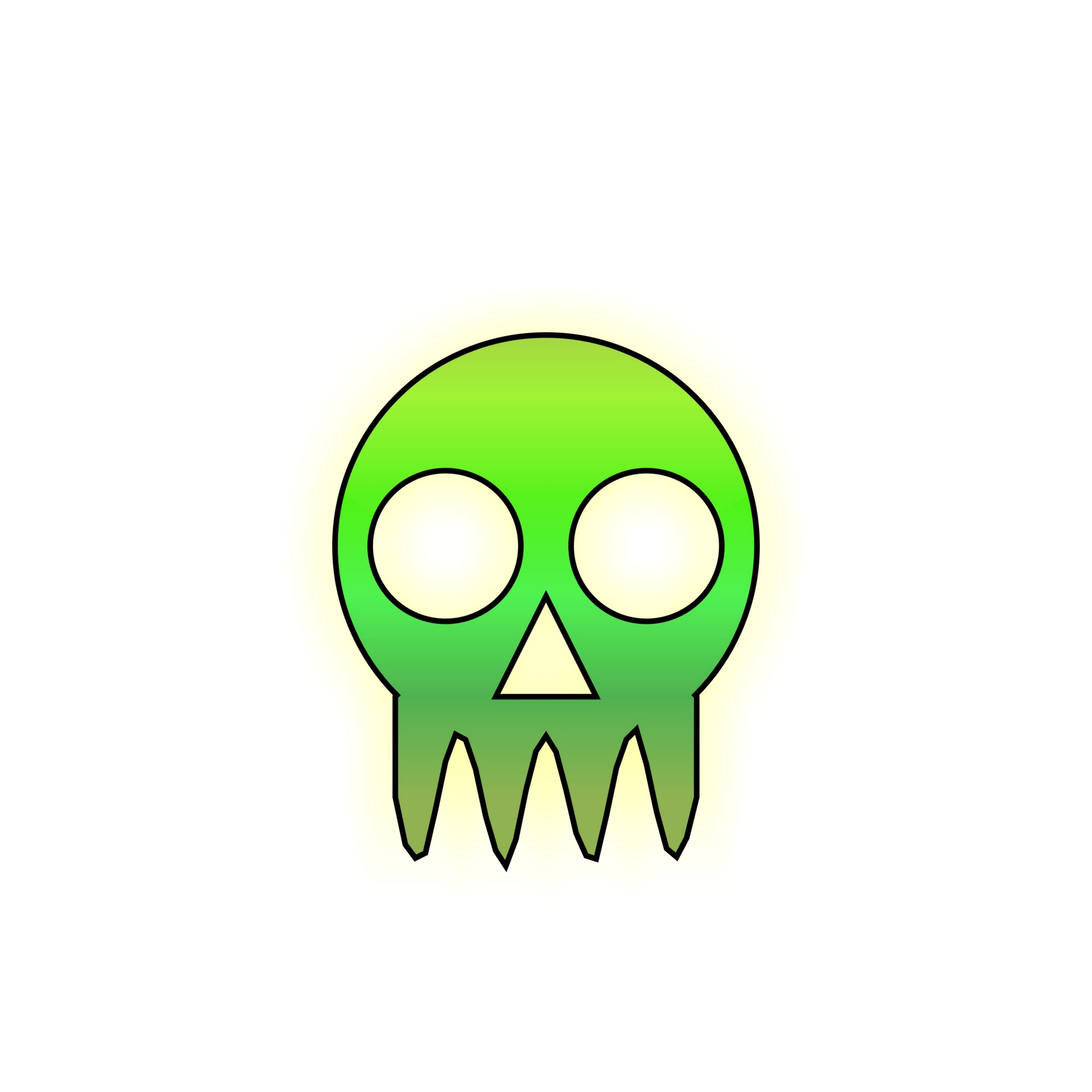 1920x1920 Skull, Drawing, Green, Gradient, Scary
