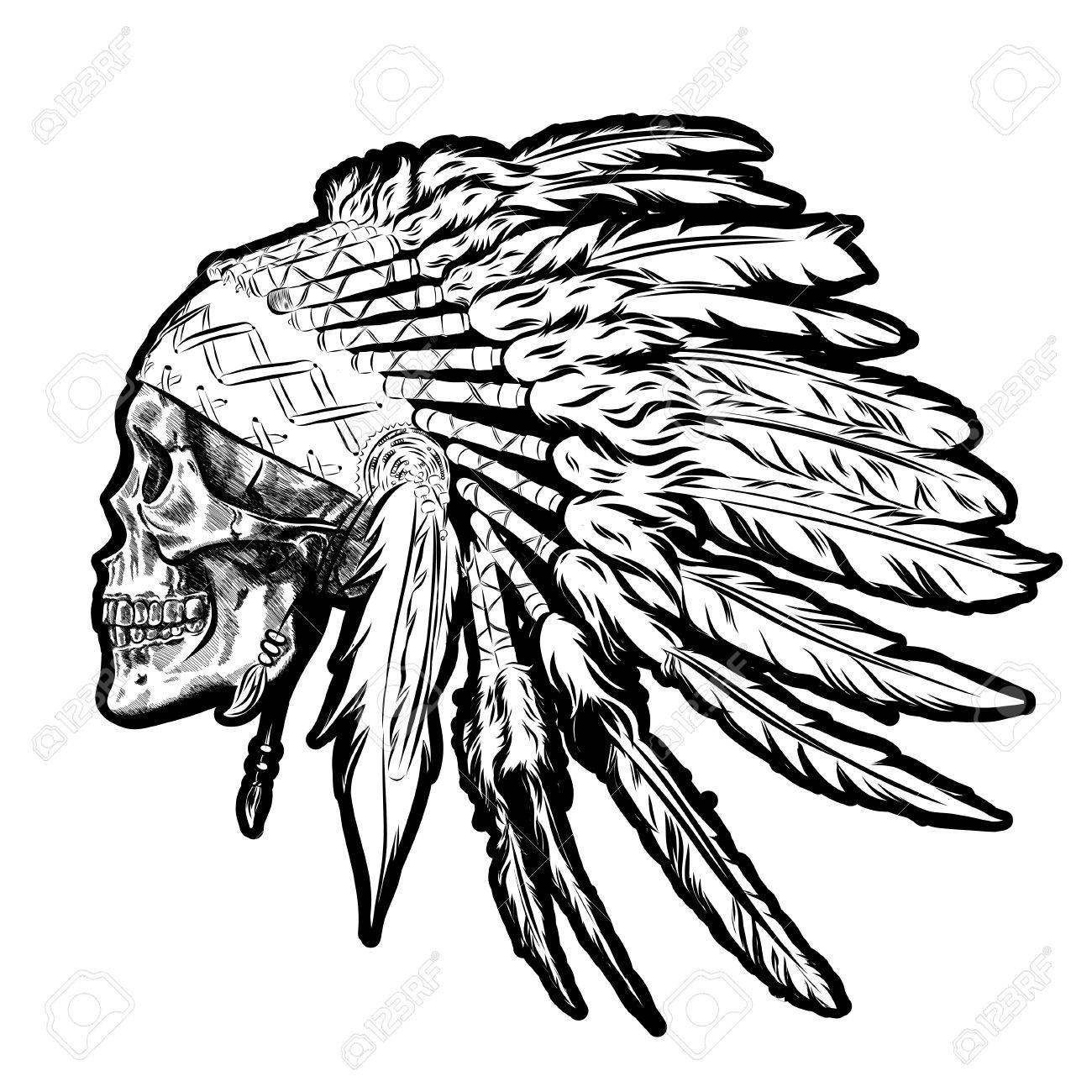 1300x1300 Huge Collection Of 'native American Skull Drawing' Download More