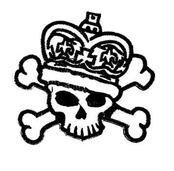 355x349 Skull Crown Crossbones Punk Rock Biker Rider Motorcycle Patch Hand