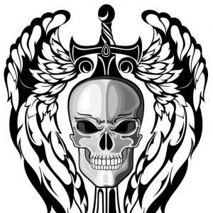 300x300 Skull In Crown And Sword Vector Hoodamathrun