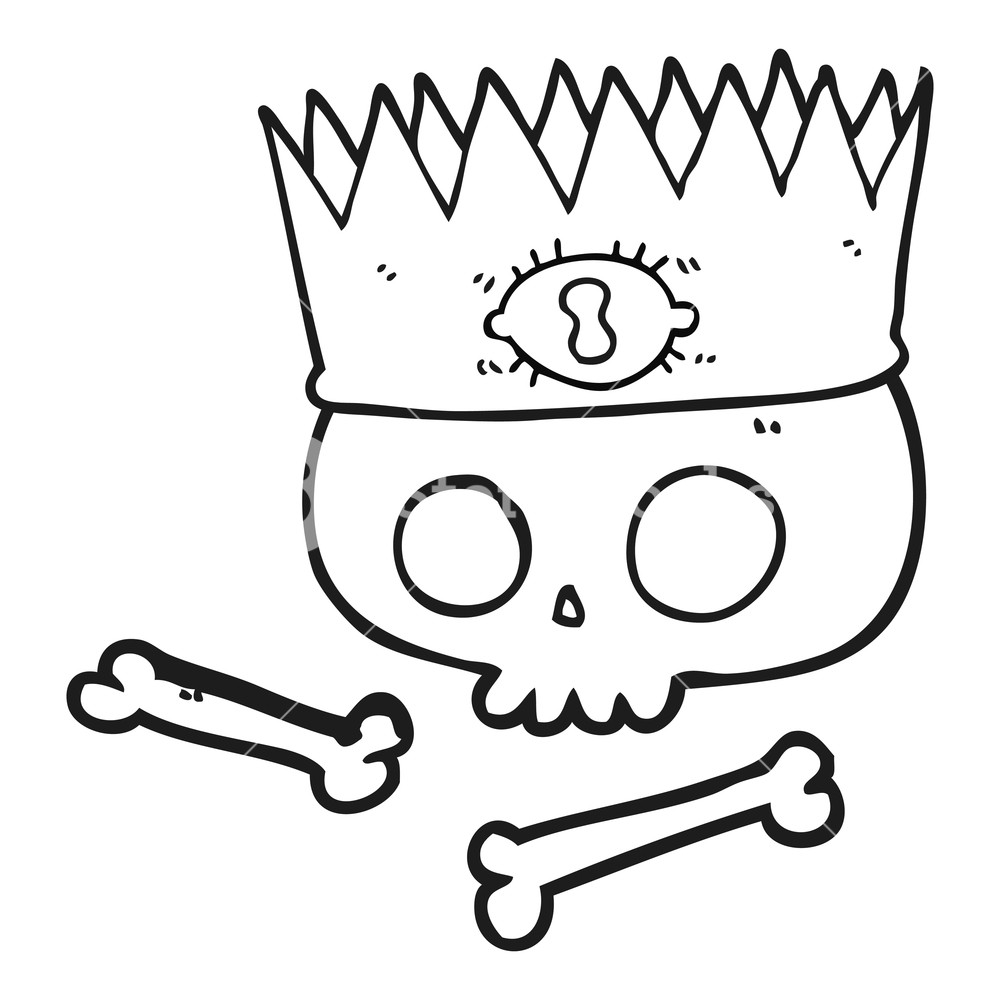 1000x1000 Freehand Drawn Black And White Cartoon Magic Crown On Old Skull
