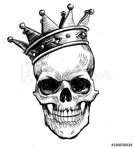 451x500 Black And White Ink Illustration Of A Human Skull In Crown