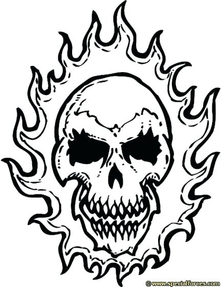 Skull With Flames Drawing
