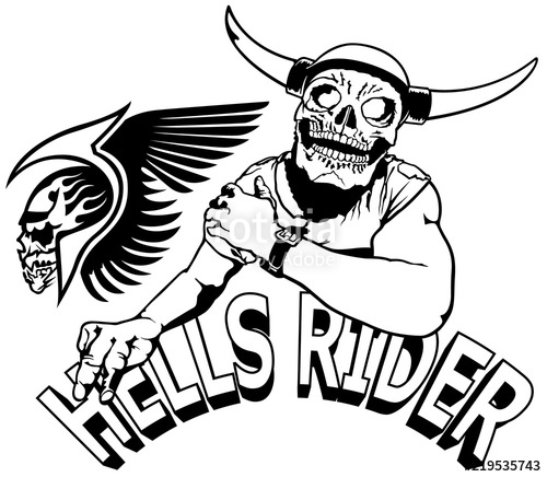 500x436 Hells Rider Black Drawing