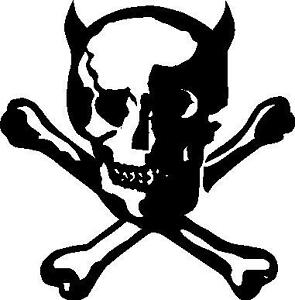 295x300 Skull And Cross Bones Devil With Horns Car Decal Sticker Ebay