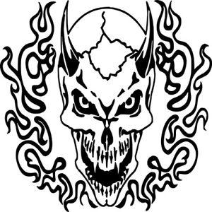 300x300 Skull Horns Flames Demon Skeleton Wall Car Truck Window Vinyl