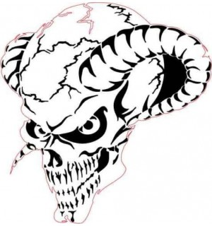 300x320 Airbrush Stencil Skull Multi Layer
