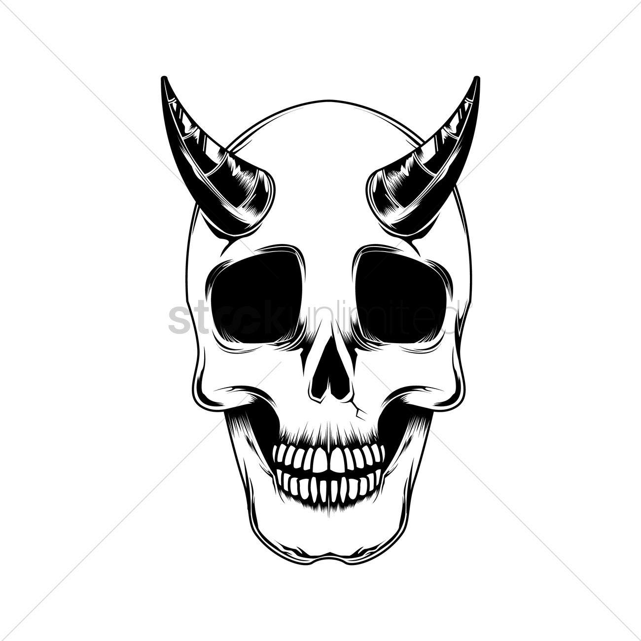 1300x1300 Skull With Horns Vector Image
