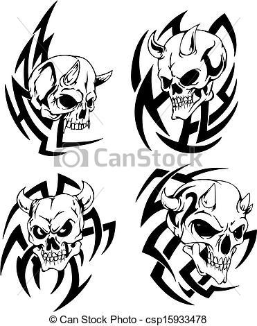 371x470 Skulls With Horns Devil Skulls Set Of Black And White Vector