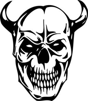 300x341 Skull With Horns Decal, Decal Sticker Vinyl Car Home