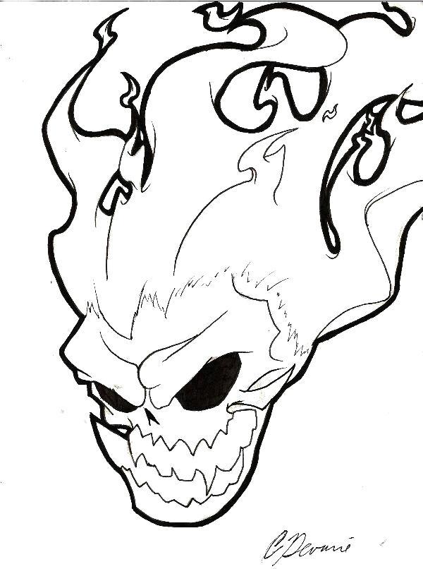 600x806 flaming skull coloring pages flaming skull