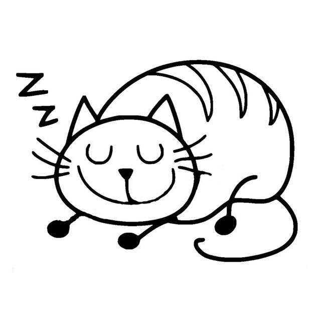 640x640 Sleeping Cat Quiet Car Sticker Vinyl Lovely Bumper Car