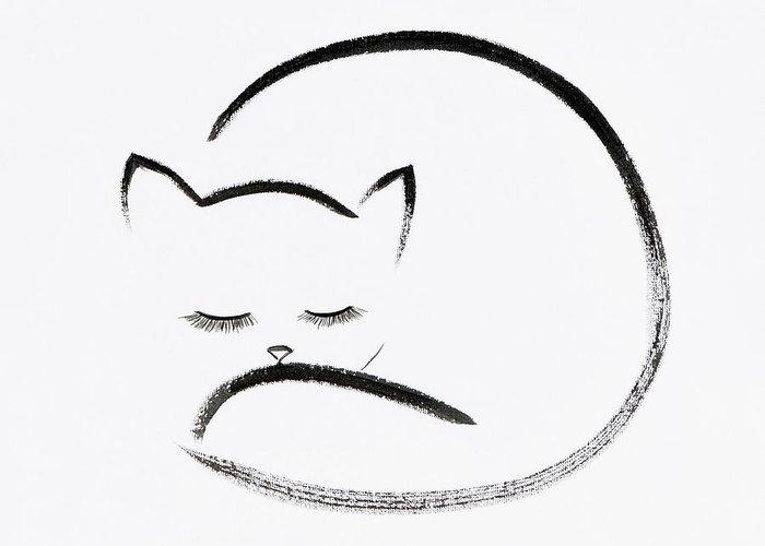 700x500 Cute Cuddled Up Sleeping Cat Japanese Zen Sumi E Painting On Whi