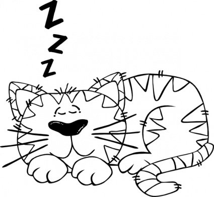 425x392 Free Cartoon Cat Sleeping Outline Clipart And Vector Graphics