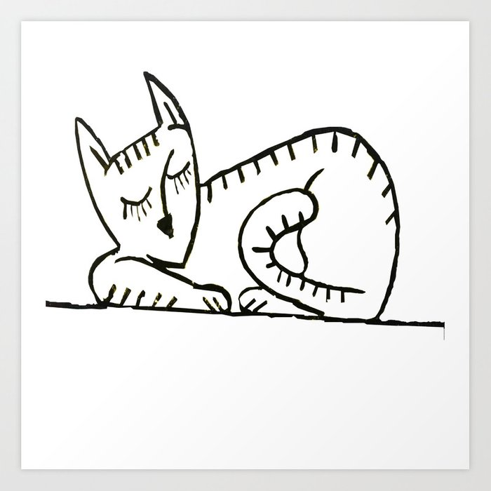 700x700 Graffiti Sleeping Cat Ii Art Print