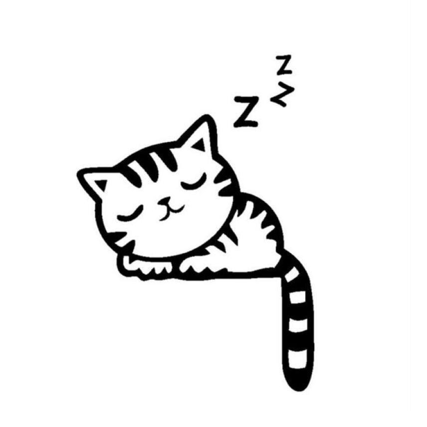 856x856 Kakuder Cartoon Removable Black Sleeping Cat Switch Wall Sticker