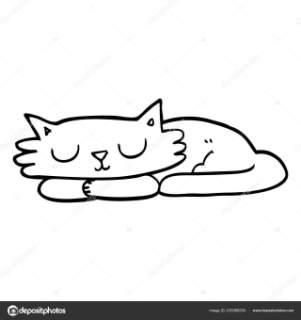 301x320 Line Drawing Cartoon Sleeping Cat Stock Vector Lineartestpilot