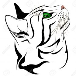 250x250 One Line Drawing Of A Cat Sleeping Picasso Face Simple Vector