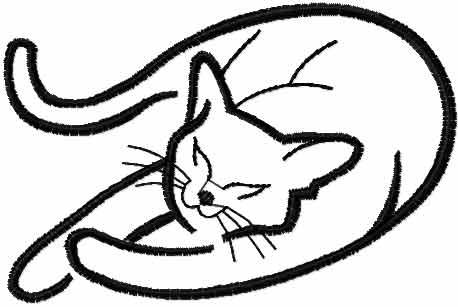 458x307 Sleeping Cat Free Embroidery Design