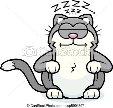 450x429 Cartoon Little Cat Sleeping A Cartoon Illustration Of A Little