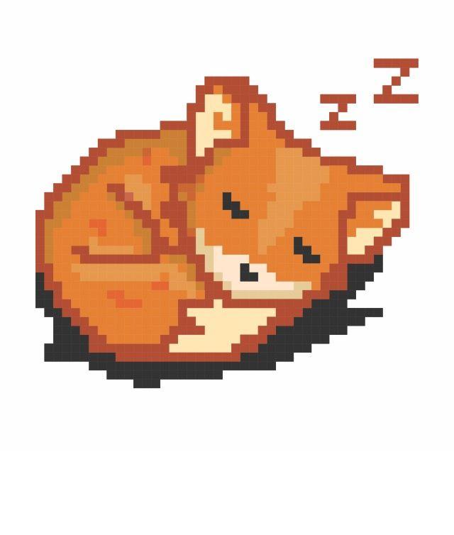 640x754 sleeping fox pixel art pixel art, aesthetic art, art