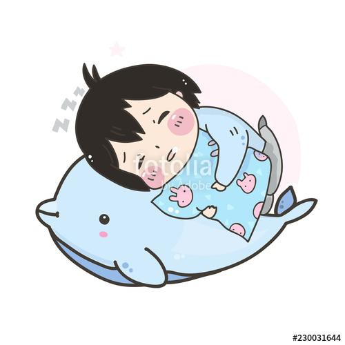 500x500 Kawaii Sleeping Girl And Dolphin Hand Drawn Vector Illustration