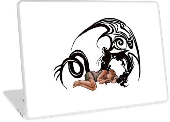 558x400 Sleeping Beauty Girl With Dragon Cartoon Drawing Laptop Skins