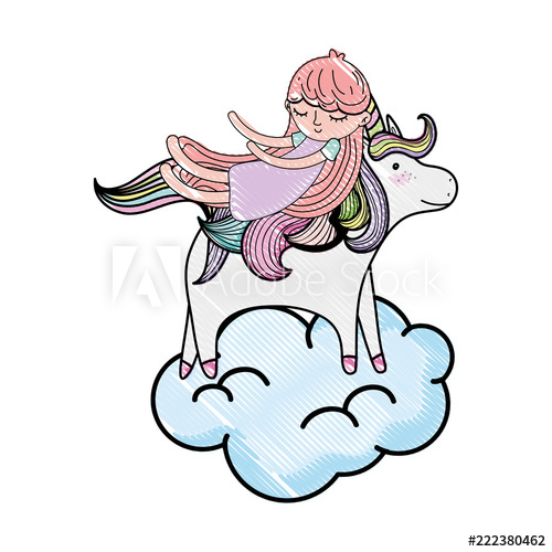 500x500 Scribbled Sleeping Girl With Beauty Unicorn In The Cloud