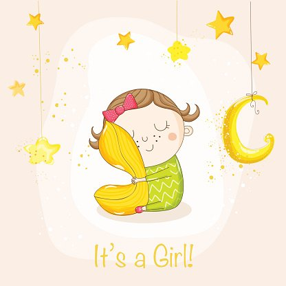 416x416 Baby Girl Sleeping With A Pillow Baby Shower Card Premium Clipart