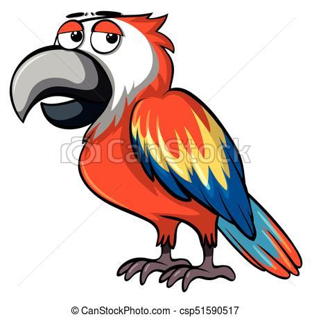 450x456 Parrot With Sleepy Eyes Illustration Vector Clip Art