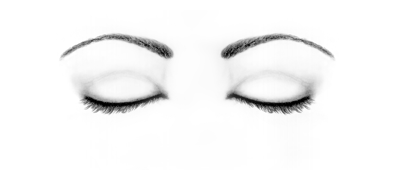 1500x651 Closed Eyes Original Sketch Drawing