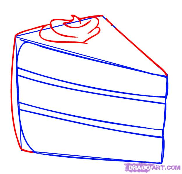 625x596 How To Draw A Piece Of Cake, Step