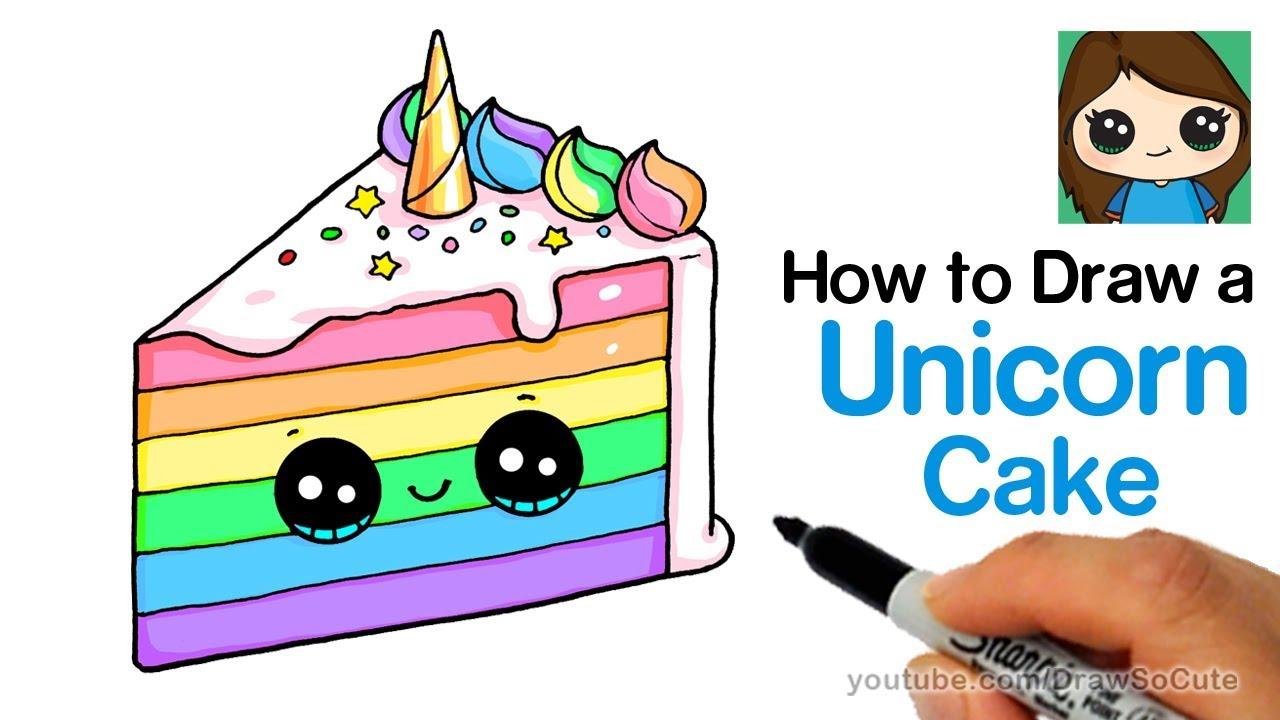 1280x720 How To Draw A Unicorn Rainbow Cake Slice Easy And Cute