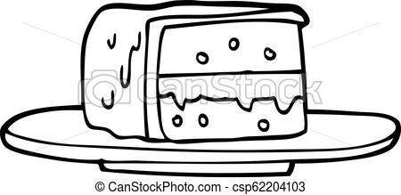 450x219 Line Drawing Cartoon Slice Of Cake