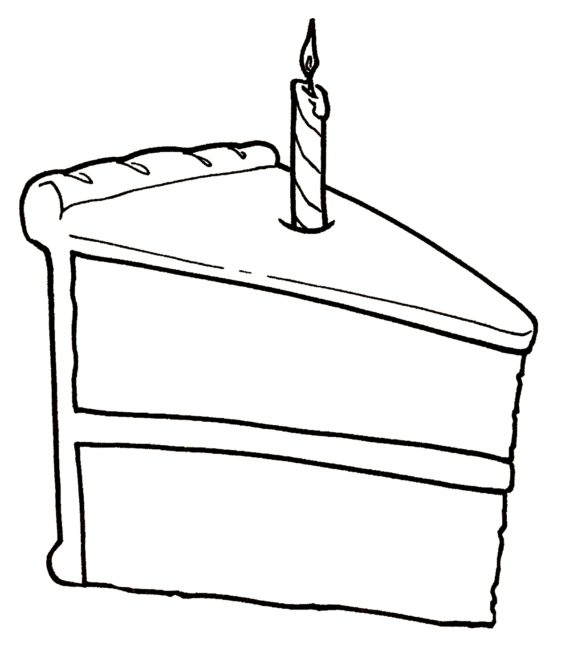 570x659 Slice Of Cake Clipart Black And White