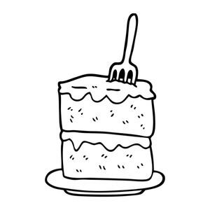 300x300 Black And White Cartoon Slice Of Cake Royalty Free Stock Image