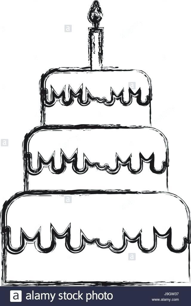 640x1026 How To Draw A Birthday Cake Step