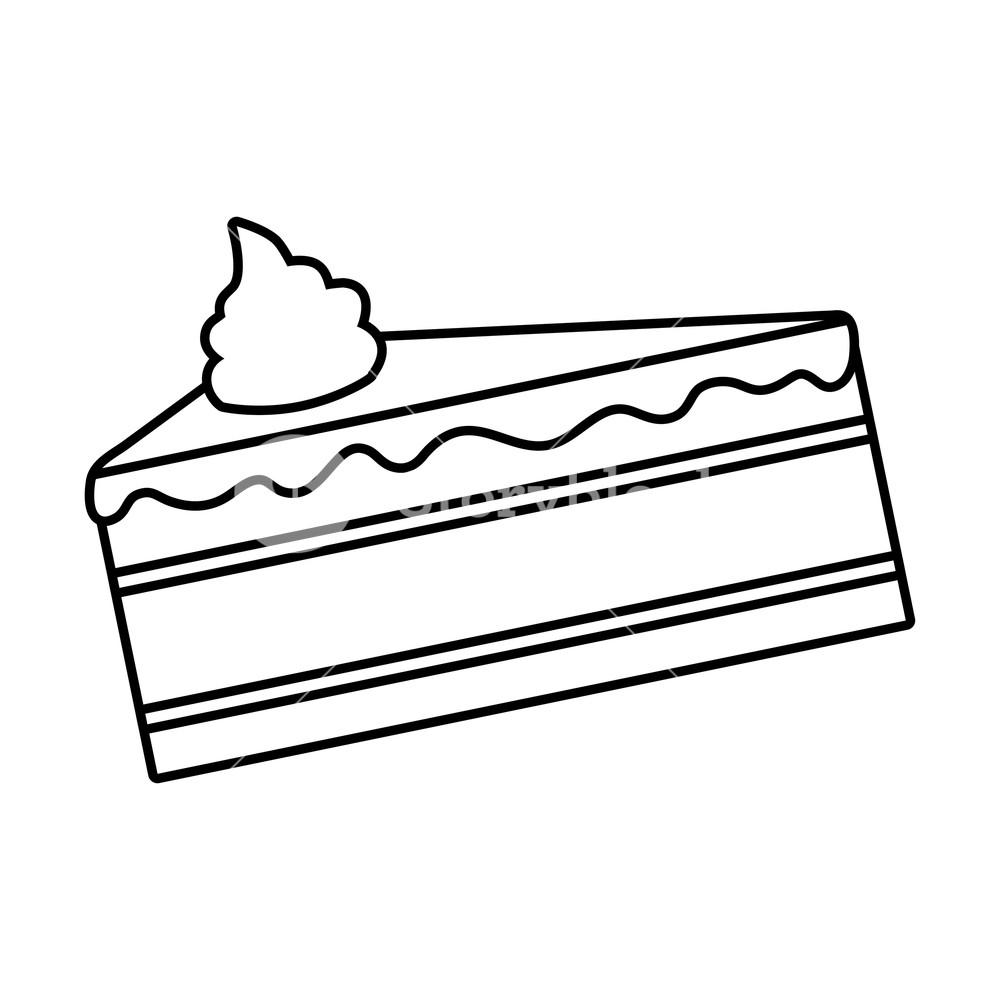 1000x1000 Sweet Cake Slice On White Background Vector Illustration Royalty