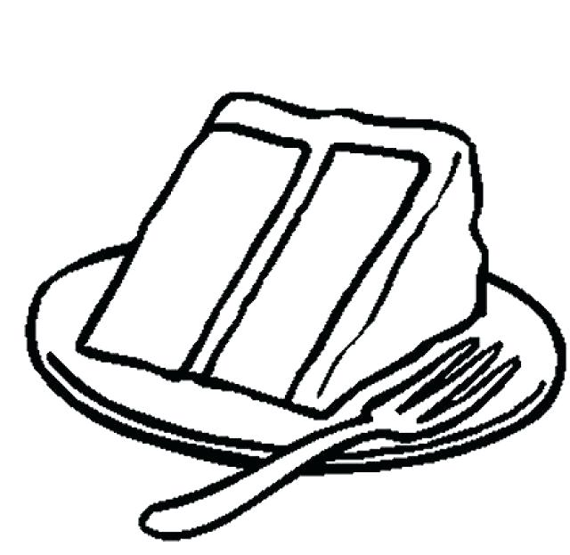 640x623 Cake Coloring Pages Slice Cake Coloring Pages On Plate A Birthday