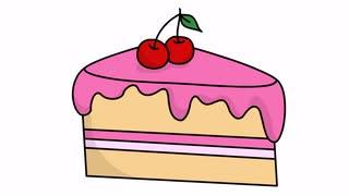 320x180 Cake Slice Sketch Illustration Hand Drawn Animation Transparent