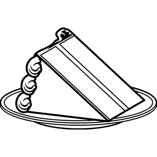 600x600 Cake Coloring Pages Slice Cake On Plate