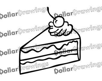 340x270 Cartoon Cake Slice Etsy