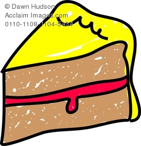 290x300 Clipart Image Of A Whimsical Drawing Of A Slice Of Sponge Cake