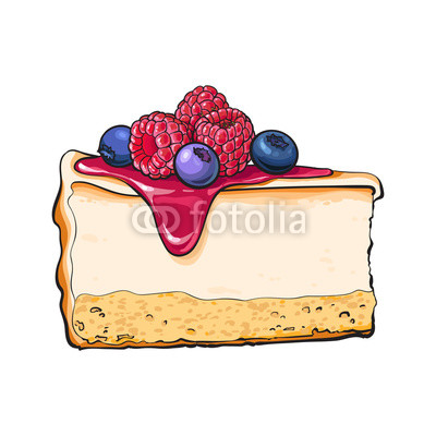 400x400 Hand Drawn Piece Of Cheesecake Decorated With Fresh Berries
