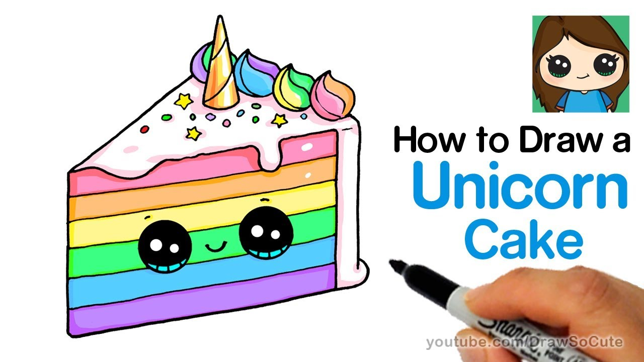 1280x720 How To Draw A Unicorn Rainbow Cake Slice Easy And Cute
