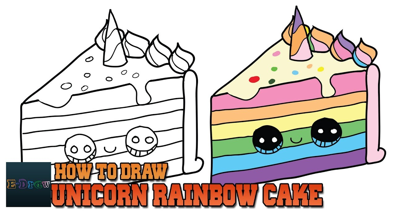 1280x720 How To Draw A Unicorn Rainbow Cake Slice Easy And Cute Step