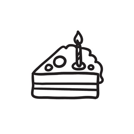 450x450 Slice Of Cake With Candle Vector Sketch Icon Isolated